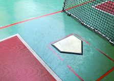 The close view of batting cage. For practicing baseball Royalty Free Stock Photo