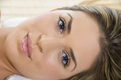 Close view of the beautiful face of woman Royalty Free Stock Image