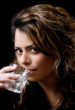 Close view of beautiful model drinking water Stock Photos