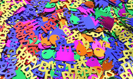 Close view of birthday party confetti Stock Images