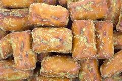 Close view of bite sized pretzels Stock Images