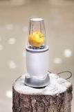 Close view of a blender with an apple on a snowy log Stock Image