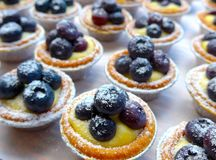 The close view of blueberry tarts Royalty Free Stock Photography