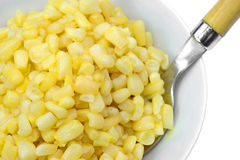 Close view of buttered corn in bowl wit spoon Stock Images