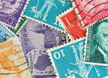 Close view of canceled vintage postage stamps Royalty Free Stock Images