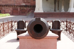 Close view of canon barrel of a vintage Canon in Agra Fort Stock Image