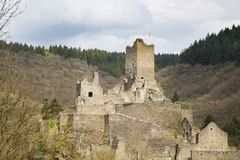 Castle Manderscheid Ruin, Eifel, Germany Stock Images