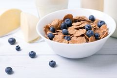 Close view of a cereals with blueberries with moazzarella and bottles of milk on a background. with central focus and shallow dept Royalty Free Stock Photography