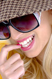 Close view of cheerful model Royalty Free Stock Photo