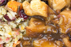 Close view of chicken with rice TV dinner Royalty Free Stock Photos