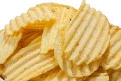 Close view of chips potato. On the white background royalty free stock photos