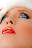 Close view of christmas woman looking up Stock Photo