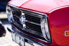 Seventies car. Close view of a classic car from the seventies parked on a park Royalty Free Stock Photo