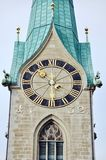 Close view of clock tower in Zurich Stock Photography