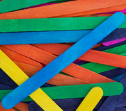 Close view of colorful craft sticks royalty free stock image
