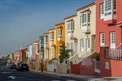 Colorful houses new street at Tenerife island Stock Photos