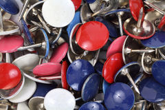 Close view of colorful thumbtacks Royalty Free Stock Images
