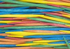 Close view colorful toothpicks Stock Image