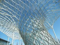 Close view of the conical base of a tensile structure