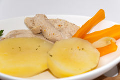 Close view of cooked potato and chicken white meat Royalty Free Stock Photo