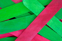 Close view of craft sticks in holiday green and red Stock Photography