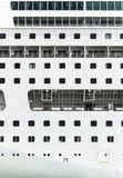 Shipboard with portholes closeup. Close view of cruiser shipboard, side view Royalty Free Stock Photos