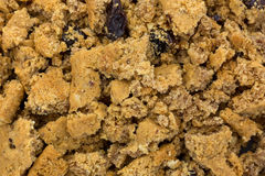 Close view of crumbled oatmeal raisin cookies Stock Images
