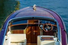 Close view on deck of luxury retro motor boat Stock Photo