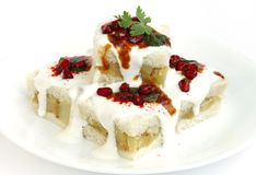 Close view of delicious bread dahi vada Royalty Free Stock Photography