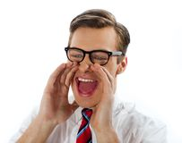 Close view of excited businessman Stock Photo