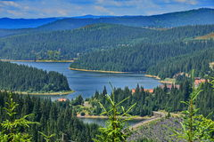 Close view of the Fantanele lake and mountains. Stock Photography