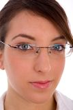 Close view of female face with eyewear Stock Images