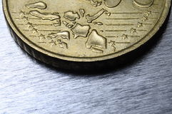 Close view of fifty cent euro coin Royalty Free Stock Photo