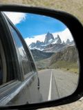 The Fitz Roy mountain over the blue sky from the road royalty free stock image