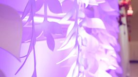 Close view at the floral wedding decorations.  stock footage