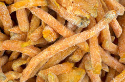 Close view frozen sweet potato french fries Royalty Free Stock Photo