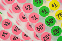 Close view of garage sale stickers royalty free stock photo
