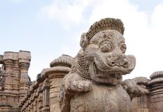 Close view of the giant lion at the entrance Stock Photos