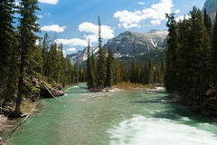 Close view of glaciers,St.Mary Lake and river Royalty Free Stock Photo