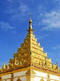 Close view of golden roof at Mahamuni Pagoda complex in Mandalay. Myanmar. Mahamuni Pagoda is a Buddhist temple and major pilgrimage site in Myanmar stock images
