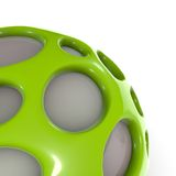 Close view of green alien techno object ball Stock Image