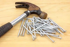 Close view of hammer and nails Royalty Free Stock Photography