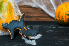 Close view at homemade halloween sweets. Gingerbread cookies  cat. and bat over black wooden table with pumpkin on a back and spiderweb. Shallow depth of field Stock Images