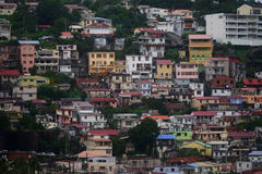 Close view of houses at Fort-de-France, Martinique Island - Lesser Antilles, French overseas territory Royalty Free Stock Photo