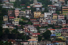 Close view of houses at Fort-de-France, Martinique Island - Lesser Antilles, French overseas territory Stock Image