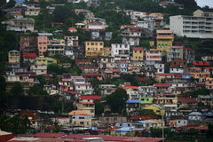 Close view of houses at Fort-de-France, Martinique Island - Lesser Antilles, French overseas territory Royalty Free Stock Photography