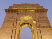 Close view of India Gate with lights at night, New Delhi Royalty Free Stock Photo