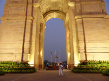 Close view of India Gate with lights at night, New Delhi Royalty Free Stock Photography