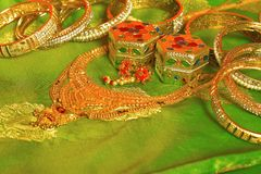 Indian traditional jewelry on a green saree royalty free stock images