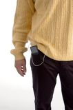 Close view of ipod in pocket. With white background Royalty Free Stock Image